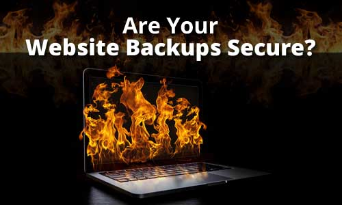 Laptop with website backup on fire