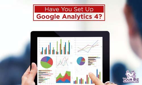 Set Up Google Analytics 4 graphs digital tablet